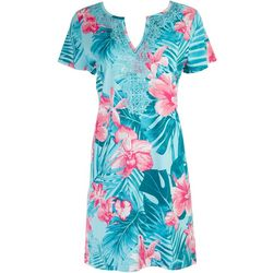 Caribbean Joe Womens Tropical Print Sleeveless Dress