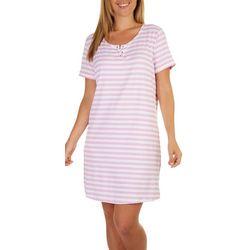 Stella Parker Womens UPF Lace Up Striped T-shirt Dress