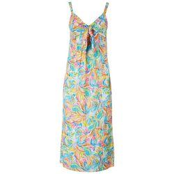 Stella Parker Womens Tropical Knotted Midi Sun Dress