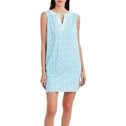 Womens Shell Print Contrast Neck Shift Dress