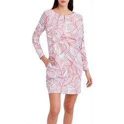 Womens Leafy Quarter Zip Long Sleeve Dress