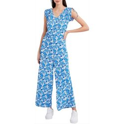 Stella Parker Womens Floral Tie Jumpsuit