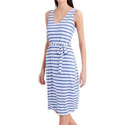 Stella Parker Womens Striped Print Belted Midi Dress