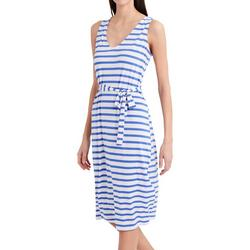 Womens Striped Print Belted Midi Dress