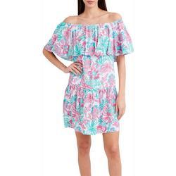 Womens Off The Shoulder Ruffled Dress