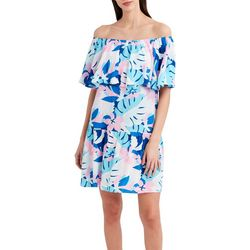 Stella Parker Womens Off The Shoulder Tropical Dress