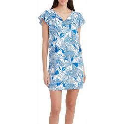Womens Blue Flower Sun Dress