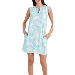Stella Parker Womens Tropical Printed Sleevless Dress