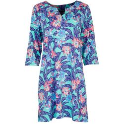 Caribbean Joe Womens Floral Beach Dress