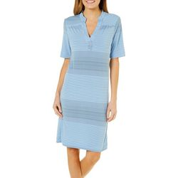 Grayson Womens Dotted Stripe Notch Neck Sundress