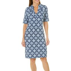Grayson Womens Medallion Print Notch Neck Dress