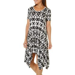 Grayson Womens Geometric Print Handkerchief Hem Dress