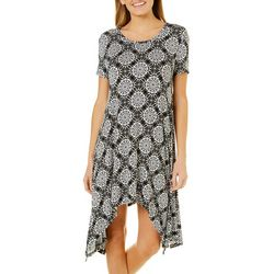 Grayson Womens Geo Medallion Handkerchief Hem Dress