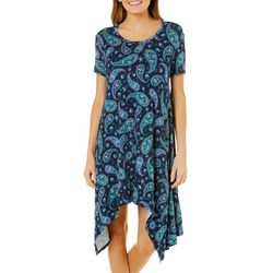 Grayson Womens Floral Paisley Handkerchief Hem Dress