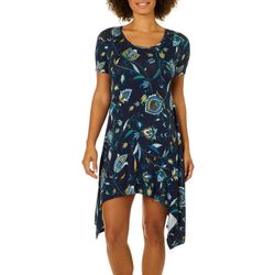 Grayson Womens Leafy Floral Handkerchief Hem Dress