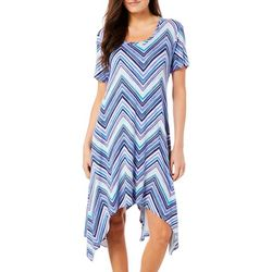 Grayson Womens Chevron Print Handkerchief Hem Dress