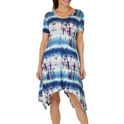 Grayson Womens Tie Dye Handkerchief Hem Dress
