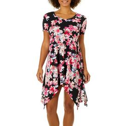 Grayson Womens Floral Print Handkerchief Hem Dress