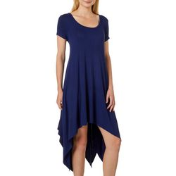 Grayson Womens Solid Handkerchief Hem Dress