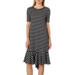 Grayson Womens Stripe Print T-Shirt Dress