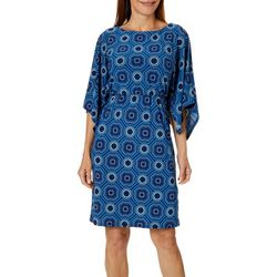 Grayson Womens Dolman Medallion Print Dress