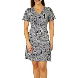 Grayson Womens Floral Paisley T-Shirt Dress