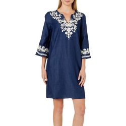 Beige Womens Embroidered Denim Shirtdress