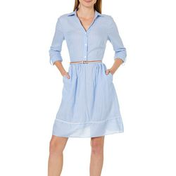 Beige Womens Belted Striped Shirtdress