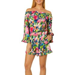 Beige Womens Painted Floral Off The Shoulder Romper