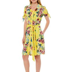 Beige Womens Belted Geometric Floral Sundress