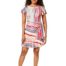 Beige Womens Faded Stripes Side Tie Sundress