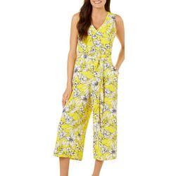 Beige Womens Tropical Floral Capri Jumpsuit