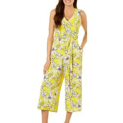 Beige Womens Tropical Floral Capri Jumpsuit