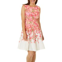 Gabby Skye Womens Floral Print Scuba Dress