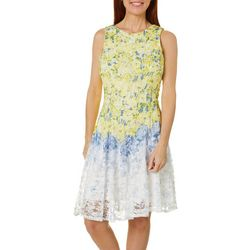Gabby Skye Womens Sleeveless Floral Print Lace Dress