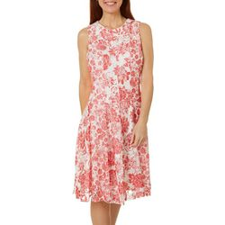 Gabby Skye Womens Sleeveless Floral Design Lace Dress