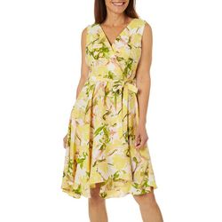 Gabby Skye Womens Geneva Floral Wrap Dress