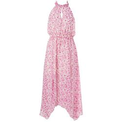 Womens Floral Hanky Hem Midi Dress