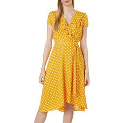 Womens Polka Dot Wrap Front Midi Dress