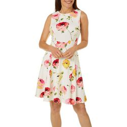 Gabby Skye Womens Sleeveless Fit & Flare Floral Scuba Dress