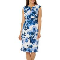 Deals on Gabby Skye Womens Sleeveless Floral Keyhole Scuba Dres