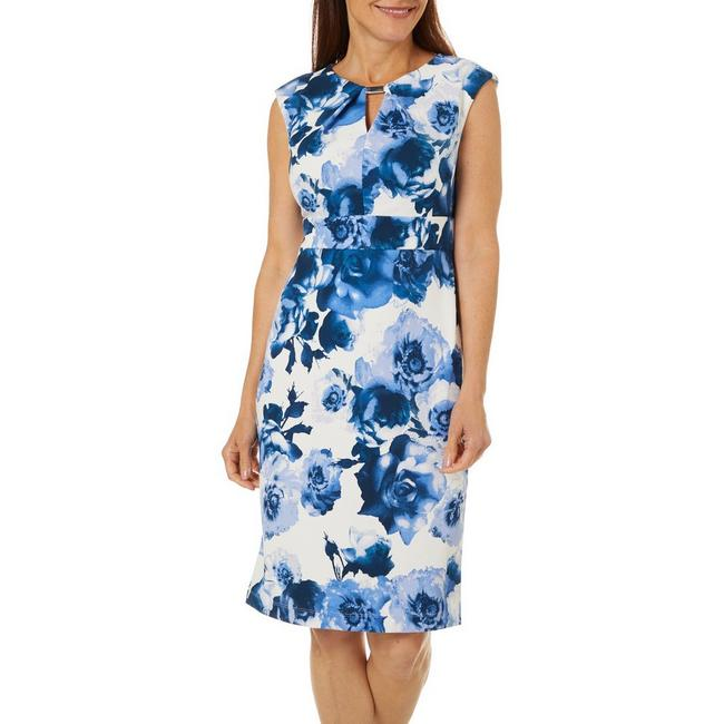 Gabby Skye Womens Sleeveless Floral Keyhole Scuba Dress (White/Blue)