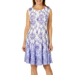 Gabby Skye Womens Floral Scroll Fit & Flare Dress