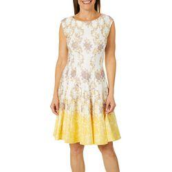 Gabby Skye Womens Medallion Scroll Fit & Flare Dress