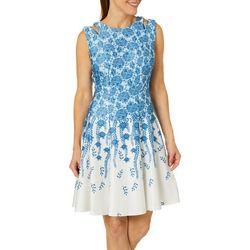 Gabby Skye Womens Floral Leaf Cutout Fit & Flare Dress