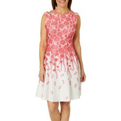 Gabby Skye Womens Floral Leaf Cutout Fit & Flare Dress