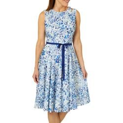 Gabby Skye Womens Belted Floral Cutout Fit & Flare Dress