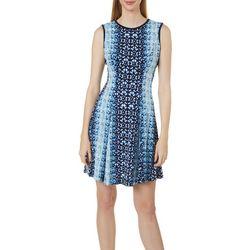 Gabby Skye Womens Sleeveless Geometric Print Dress
