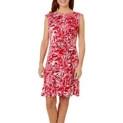 Gabby Skye Womens Cap Sleeve Tropical Floral Dress