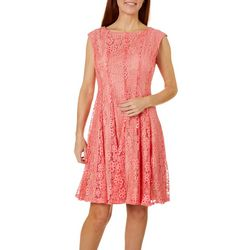 Gabby Skye Womens Sleeveless Floral Lace Dress